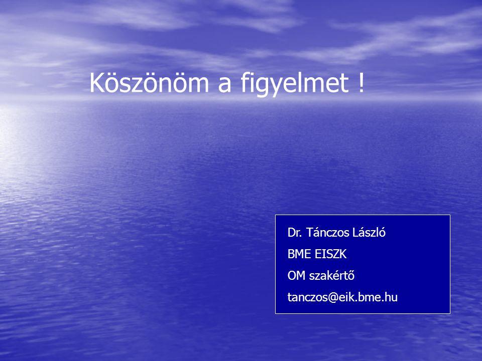 Köszönöm a figyelmet ! Dr. Tánczos László BME EISZK OM szakértő tanczos@eik.bme.hu