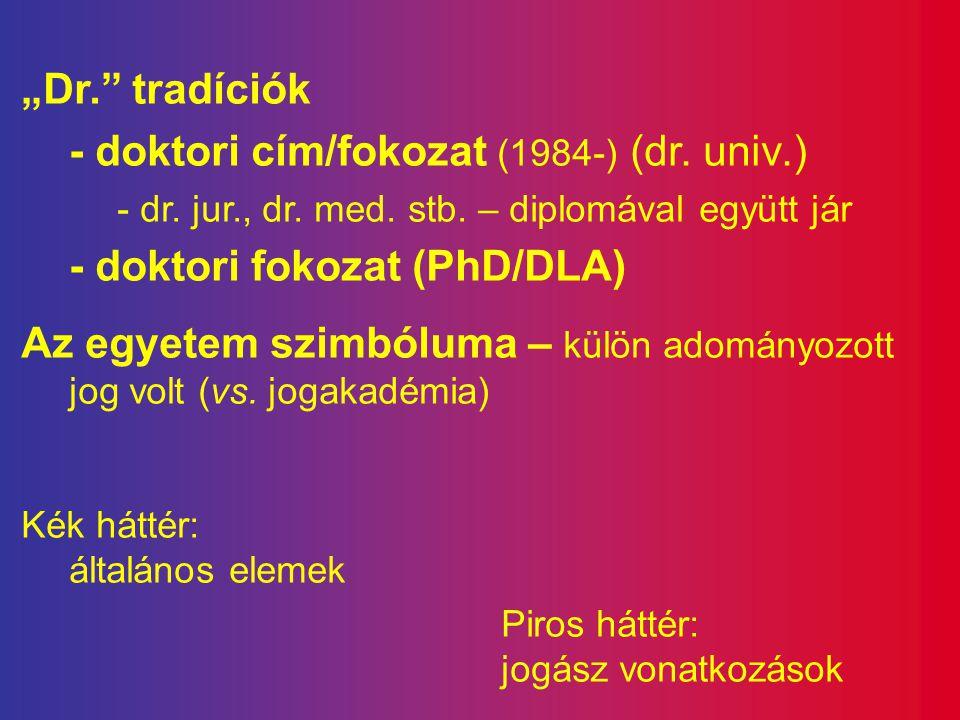 """""""Dr."""" tradíciók - doktori cím/fokozat (1984-) (dr. univ.) - dr. jur., dr. med. stb. – diplomával együtt jár - doktori fokozat (PhD/DLA) Az egyetem szi"""