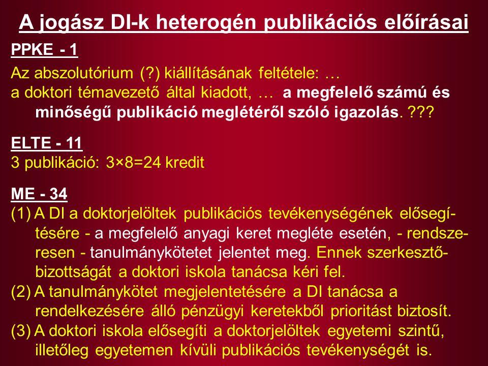 A jogász DI-k heterogén publikációs előírásai PPKE - 1 Az abszolutórium (?) kiállításának feltétele: … a doktori témavezető által kiadott, … a megfele
