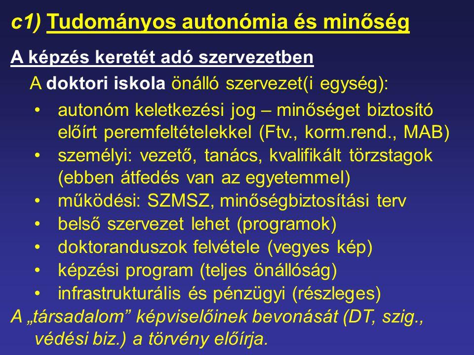 c1) Tudományos autonómia és minőség A képzés keretét adó szervezetben A doktori iskola önálló szervezet(i egység): autonóm keletkezési jog – minőséget