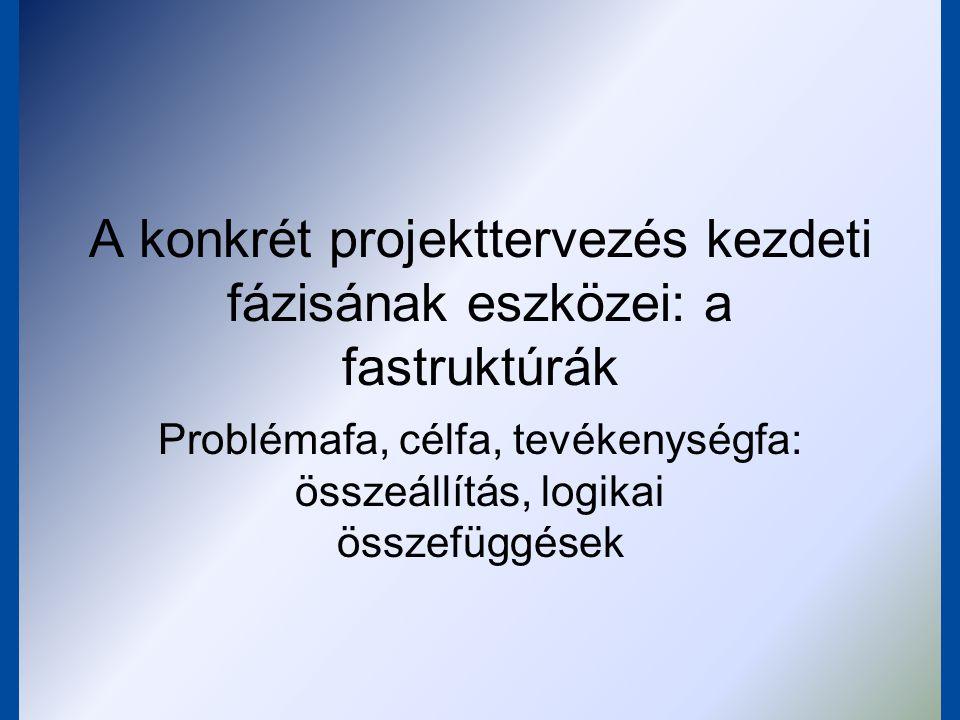A fastruktúrák Elemei: –problémafa –célfa –tevékenységfa Logikai rendszer, amely egységben kezeli: –a feltárandó problémákat –a problémák megoldásához rendelendő célokat –a célok megvalósításához szükséges tevékenységeket