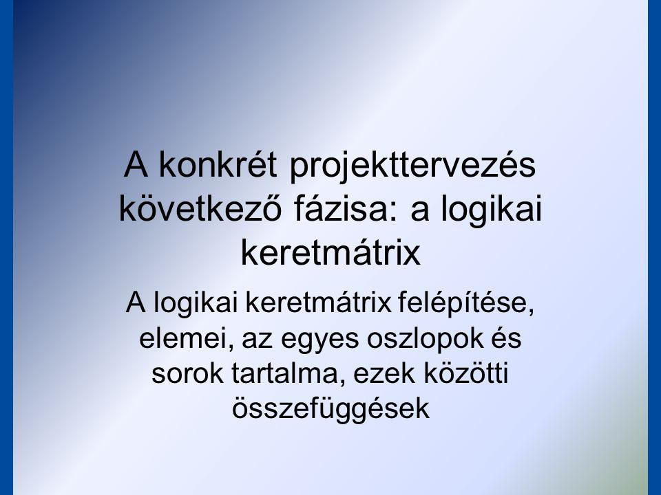 """A logikai keretmátrix fontossága az 1970-es években kezdték el használni használatának előnyei: –egyszerű elrendezés –logikai következmények megjelenítése közérthető formában mutatja meg a célokat, és teljesíthetőségük realitását """"az EU-s támogatási rendszer eszperantója"""