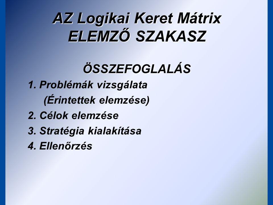A logikai keretmátrix tervezése a módszer előzménye a problémafa-célfa elemzés elvégzése a logikai keretmátrix elkészítése két részből áll: –a projekt átgondolása (elemzési fázis): a probléma okaira való koncentrálást szolgálja –az elemzés dokumentálása (tervezési fázis): a projektötletből részletes projektterv lesz, elkészül a logikai keretmátrix