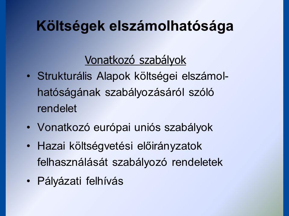Költségek elszámolhatósága Bizonylatokkal igazolt, teljesített költségek Projekthez közvetlenül kapcsolódnak Projekthez nélkülözhetetlen Költséghatékonyság – ellenőrizhető, piaci értékű árak Projekt Magyarországon valósul meg Nem szerepelnek a nem elszámolható költségek között Általános feltételek