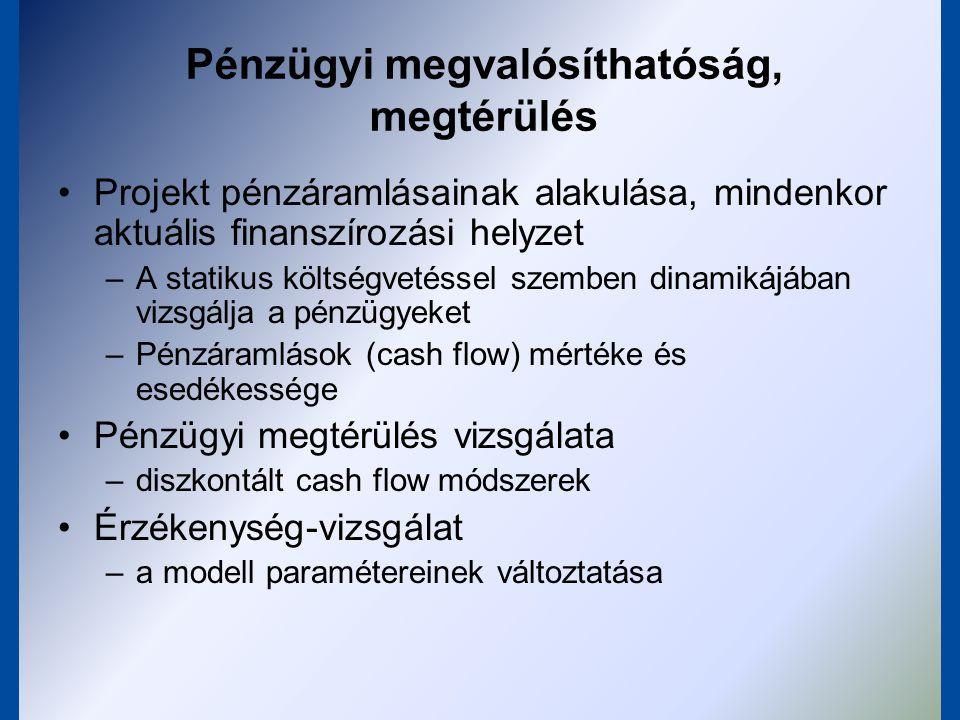 Cash-flow elemzés Összes pénzbeáramlás / összes pénzkiáramlás becslése Finanszírozási terv források: saját tőke, hitel, támogatás, stb.