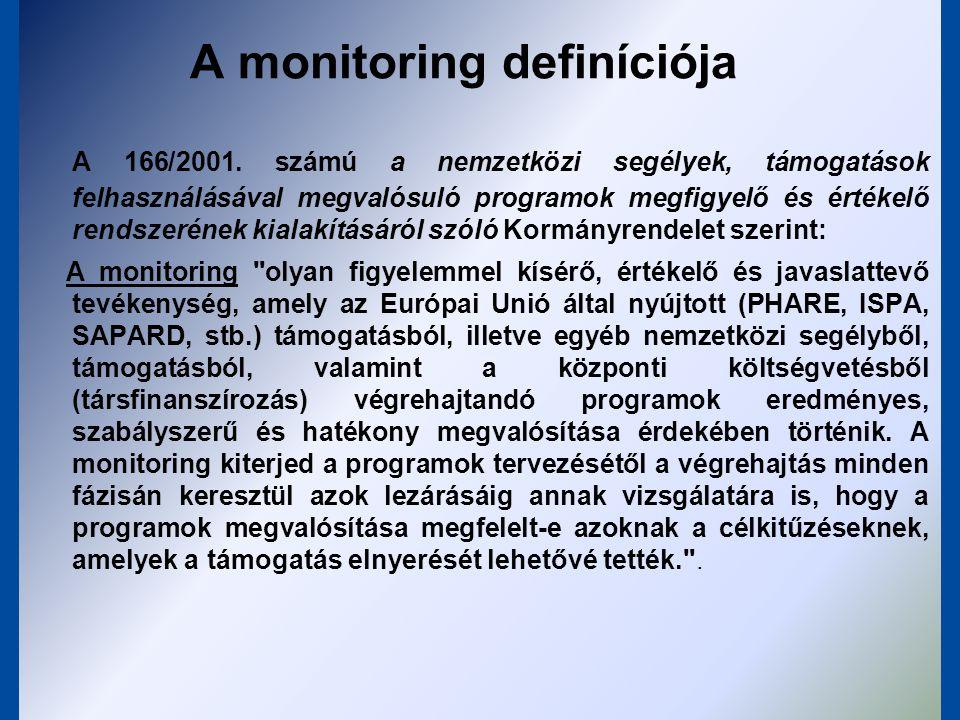 A monitoring rendszer elemei háttér intézményrendszer adat - indikátor (forrás, funkció, forma) szakértői támogatottság jelentéstételi rendszer technika (IT!) bizottságok