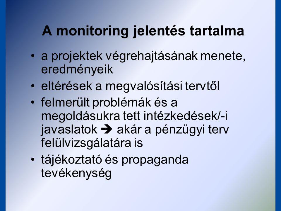 Projekt végrehajtó adatszolgáltatás, rendszeres beszámolás, alkalmankénti önértékelés Közreműködő szervezet adatgyűjtés/egyeztetés, igazolás, helyszíni ellenőrzés Operatív Program Irányító Hatóság ellenőrzés, jelentéstétel, OP Monitoring Bizottság Közösségi Támogatási Keret Irányító Hatóság ellenőrzés, jelentéstétel, KTK Monitoring Bizottság Európai Bizottság jelentések, ex-post(!) jóváhagyás Beavatkozás, átcsoportosítás IT adatbázisok SA jelentéstétel menete