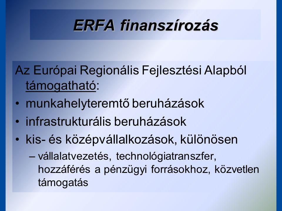 ESZA finanszírozás Európai Szociális Alap (ESZA) fejlesztési területei –aktív munkaerő-piaci politikák; –esélyegyenlőség biztosítása a munkaerőpiacra való belépés tekintetében, különös tekintettel a társadalmi kirekesztés szempontjából veszélyeztetett csoportokra; –az oktatás és képzés rendszerének fejlesztése; –a munkavállalók és a munkaszervezet alkalmazkodóképességének javítása; –a nők munkaerőpiacra való belépésének és munkaerő-piaci részvételének támogatása.