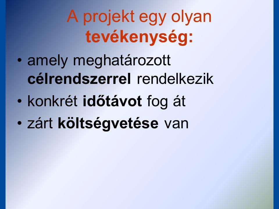 Projekt definiálható (leírható) a célként elérendő eredménnyel, a teljesítés időtartamával, a teljesítés költségkeretével.