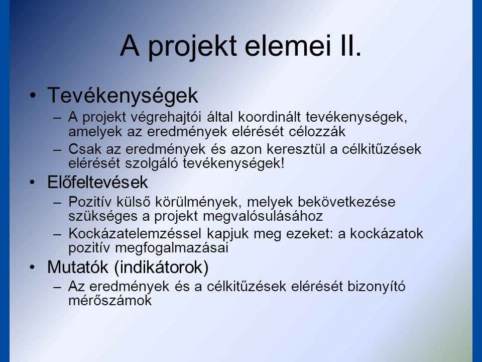 A projekt elemei III.