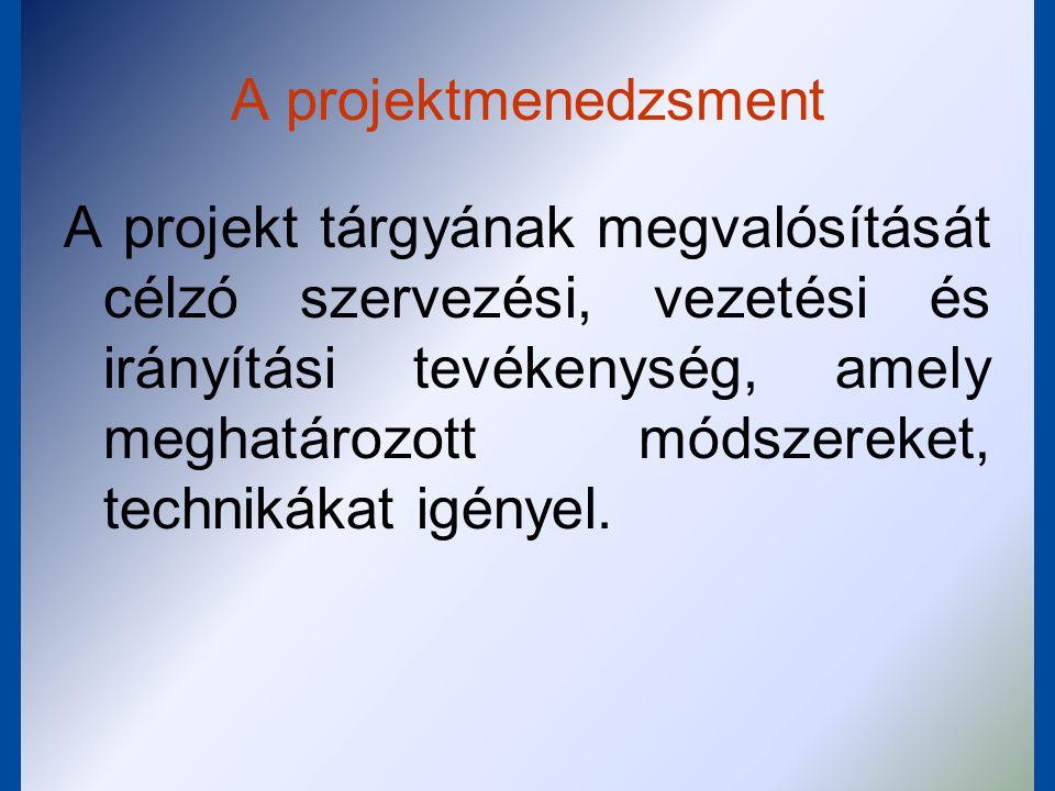 A projektmenedzsment feladatai:  a célmeghatározás  a tervezés  irányítás  ellenőrzés