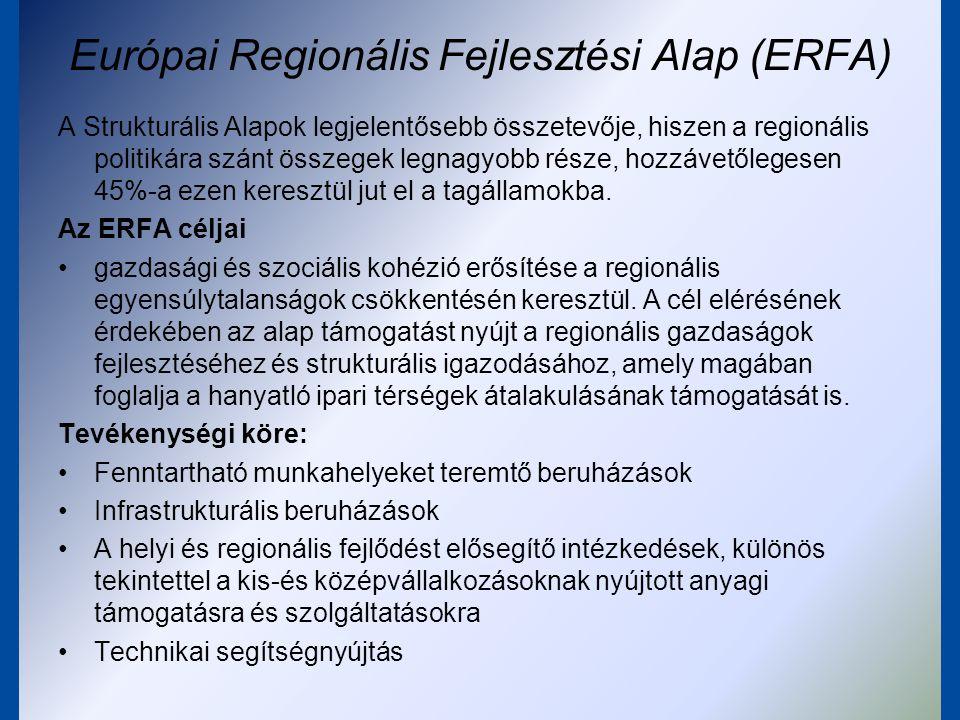 """ERFA - gazdaságfejlesztés A """"konvergencia célkitűzés keretein belül az ERFA elsősorban a fenntartható és integrált gazdaságfejlesztést és fenntartható munkahelyek létrehozását finanszírozza: Kutatás és technológiafejlesztés (K+F), innováció és vállalkozói szellem Információs társadalom Környezet Kockázat-megelőzés Idegenforgalom Kulturális beruházások Közlekedési beruházások Energia Oktatási beruházások Egészségügyi és társadalmi infrastrukturális beruházások A KKV-k támogatásának közvetlen elősegítése"""