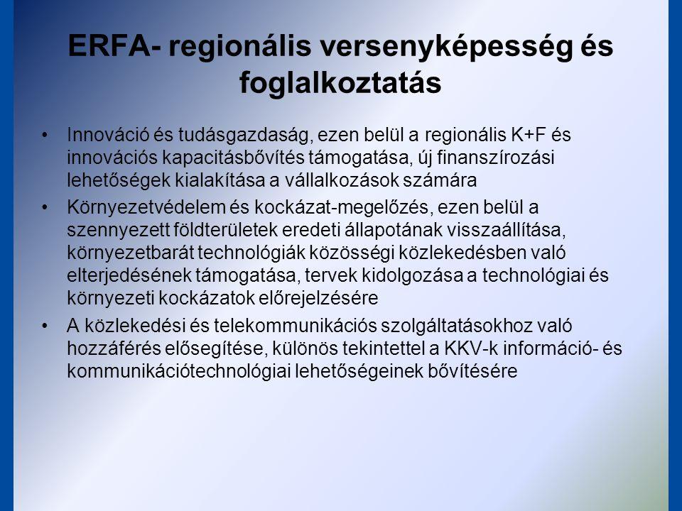 ERFA- Európai területi együttműködés Határokon átnyúló gazdasági, szociális és környezetvédelmi tevékenységek elősegítése, fenntartható területfejlesztés közös stratégiák keretében.