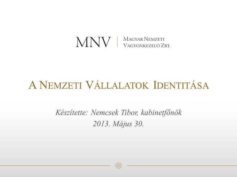 A N EMZETI V ÁLLALATOK I DENTITÁSA Készítette: Nemcsek Tibor, kabinetfőnök 2013. Május 30.