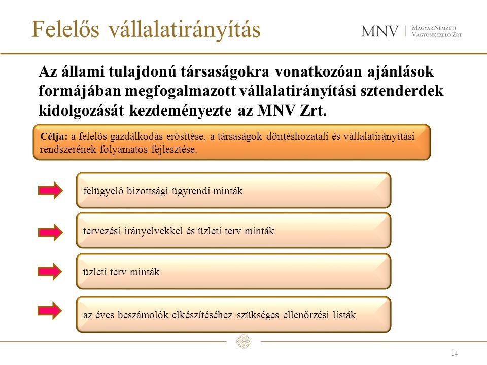 Felelős vállalatirányítás Az állami tulajdonú társaságokra vonatkozóan ajánlások formájában megfogalmazott vállalatirányítási sztenderdek kidolgozását kezdeményezte az MNV Zrt.