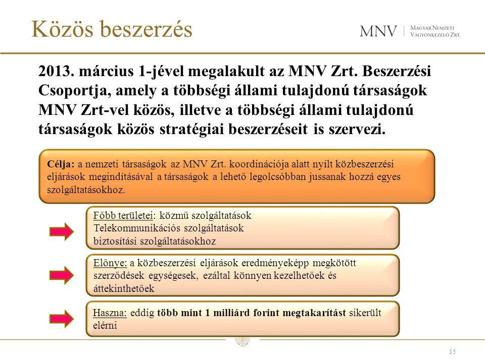 Közös beszerzés 2013.március 1-jével megalakult az MNV Zrt.