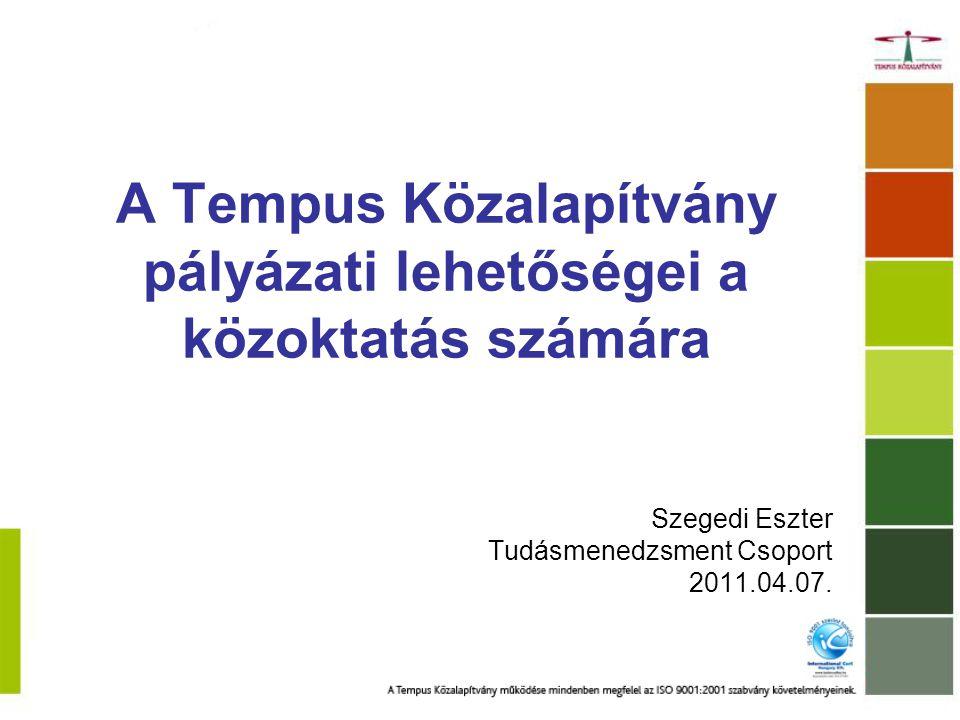 Tempus Közalapítvány 1996-tól az Oktatási és Kulturális Minisztérium felügyelete alatt működő, kiemelten közhasznú szervezet a legnagyobb mértékű mobilitást bonyolítja le Magyarországon a kezelt programokon keresztül –Egész életen át tartó tanulás program: Leonardo / Erasmus / Comenius / Grundtvig –Ceepus a felhalmozott szakmai tudást visszaforgatjuk –Képzések www.tka.hu / Képzésekwww.tka.hu –Tudásmenedzsment (EU-s oktatási együttműködésekben feladatok vállalása, jó gyakorlatok terjesztése itthon, tudásközvetítő szerep) www.oktataskepzes.tka.huwww.oktataskepzes.tka.hu –Disszeminációs kiadványok