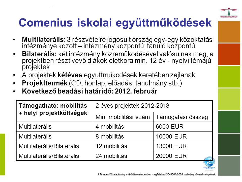 Comenius - Külföldi szakmai továbbképzések pedagógusoknak Cél: az oktatók készségeinek fejlesztése, a szakmai kompetenciák javítása nemzetközi környezetben Időtartam: 1-6 hét Támogatható továbbképzési formák: –Általános továbbképző kurzus –Nyelvtanár-továbbképző kurzus –Nyelvtanfolyam (szaktárgyukat idegen nyelven oktatók; kevésbé gyakran oktatott nyelvek; Com.int.