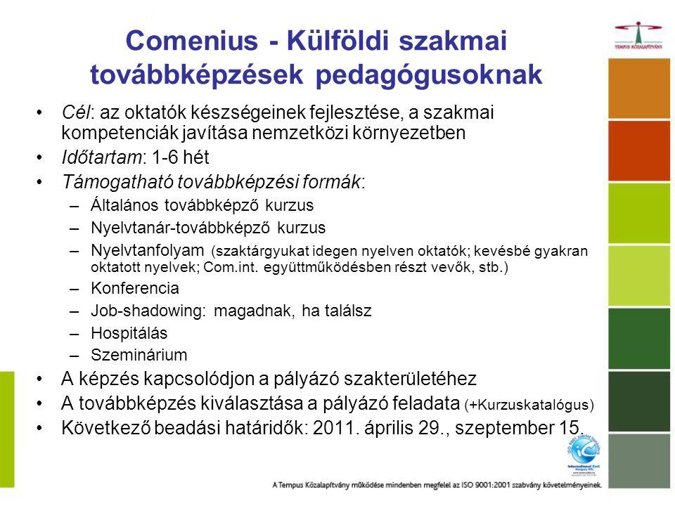 Comenius – Tanárasszisztens fogadása Célok Interkulturális ismeretek/kompetenciák Idegennyelv-tudás Innovatív pedagógiai módszerek Megvalósítás Időtartam: 13 – 45 hét 12 – 16 óra/hét Asszisztens ösztöndíjat kap Fogadó intézmény feladatai Következő beadási határidő: 2012.