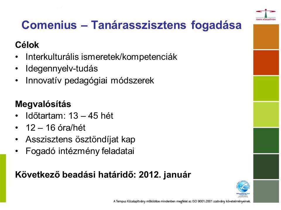 Comenius Régió együttműködések Pályázásra jogosultak: helyi/regionális oktatási hatóságok Érintett szereplők: közoktatásban érintett helyi és regionális intézmények Lehetséges tevékenységek: –Mobilitás (projekttalálkozó, közoktatással foglalkozó munkatársak cseréje) –Akciókutatás –Job shadowing / Tapasztalatcsere / Peer learning –Konferencia, szeminárium szervezése / Kiadványok készítése –Disszemináció –Önértékelés Össztámogatás max.