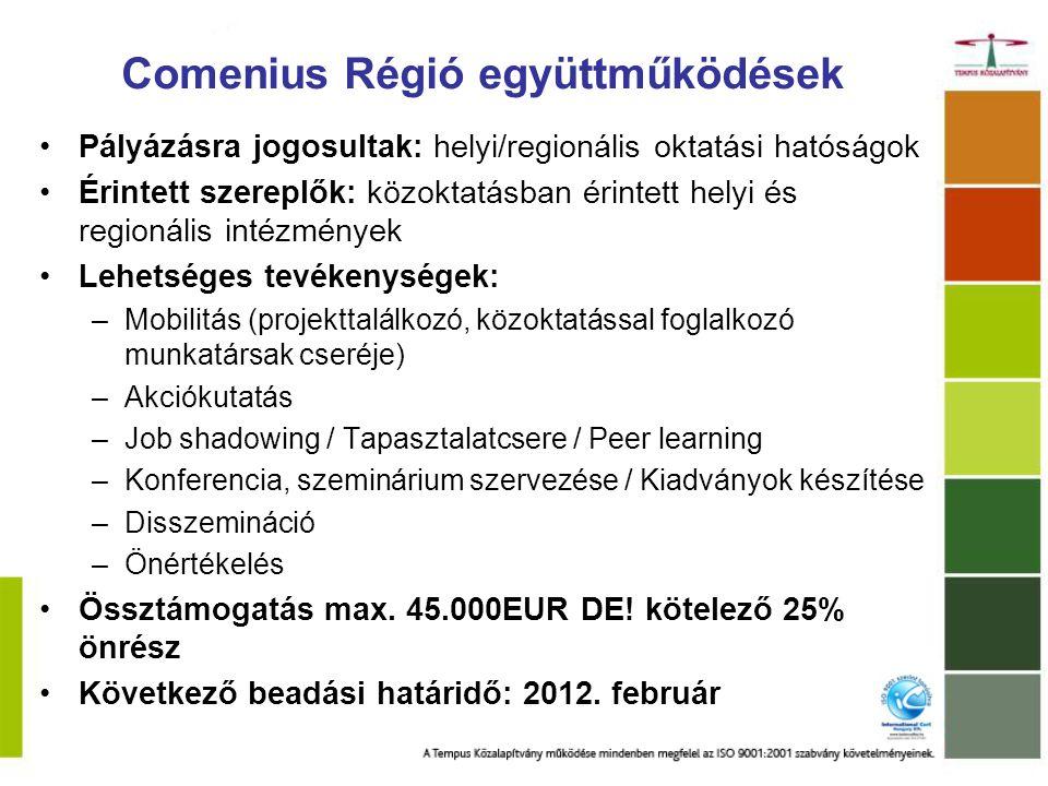Comenius - Egyéni diákmobilitás Célcsoport: Comenius intézményi együttműködésben részt vevő iskolák diákjai Tevékenység: hosszabb tanulmányi időszak (3-6 hónap) a partnerintézménynél A program előreláthatólag 2012-től indul