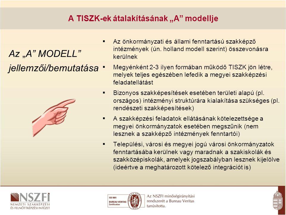 """Az """"A"""" MODELL"""" jellemzői/bemutatása  Az önkormányzati és állami fenntartású szakképző intézmények (ún. holland modell szerint) összevonásra kerülnek"""