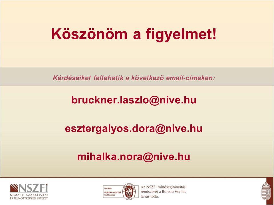 Köszönöm a figyelmet! Kérdéseiket feltehetik a következő email-címeken: bruckner.laszlo@nive.hu esztergalyos.dora@nive.hu mihalka.nora@nive.hu