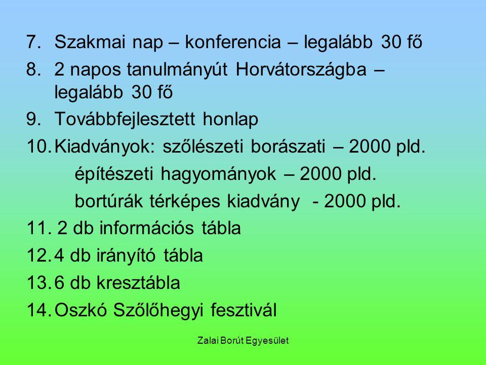 Zalai Borút Egyesület 7.Szakmai nap – konferencia – legalább 30 fő 8.2 napos tanulmányút Horvátországba – legalább 30 fő 9.Továbbfejlesztett honlap 10.Kiadványok: szőlészeti borászati – 2000 pld.