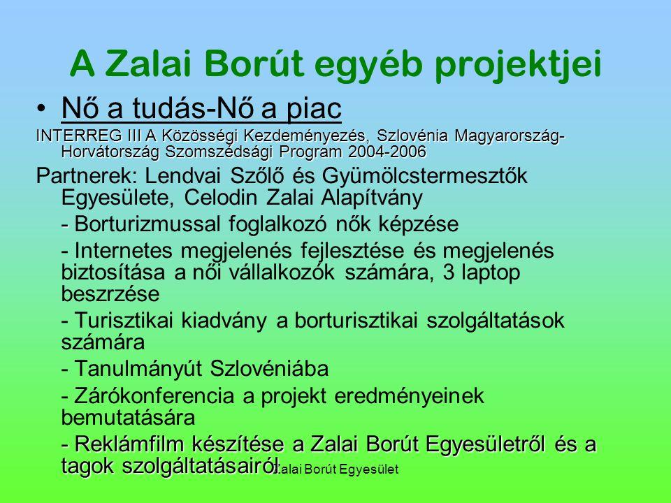 Zalai Borút Egyesület A Zalai Borút egyéb projektjei Nő a tudás-Nő a piac INTERREG III A Közösségi Kezdeményezés, Szlovénia Magyarország- Horvátország Szomszédsági Program 2004-2006 Partnerek: Lendvai Szőlő és Gyümölcstermesztők Egyesülete, Celodin Zalai Alapítvány - - Borturizmussal foglalkozó nők képzése - Internetes megjelenés fejlesztése és megjelenés biztosítása a női vállalkozók számára, 3 laptop beszrzése - Turisztikai kiadvány a borturisztikai szolgáltatások számára - Tanulmányút Szlovéniába - Zárókonferencia a projekt eredményeinek bemutatására - Reklámfilm készítése a Zalai Borút Egyesületről és a tagok szolgáltatásairól