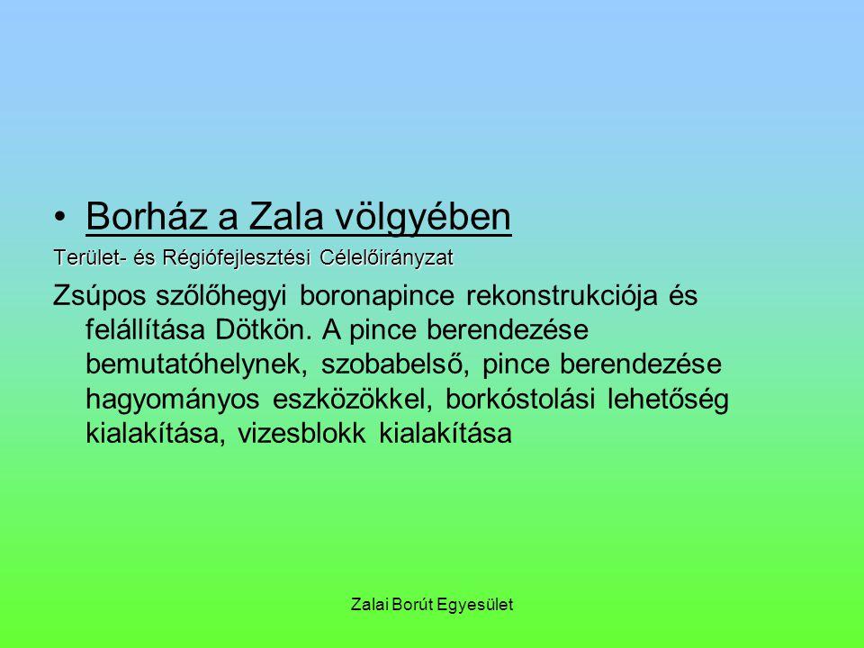 Zalai Borút Egyesület Borház a Zala völgyében Terület- és Régiófejlesztési Célelőirányzat Zsúpos szőlőhegyi boronapince rekonstrukciója és felállítása Dötkön.