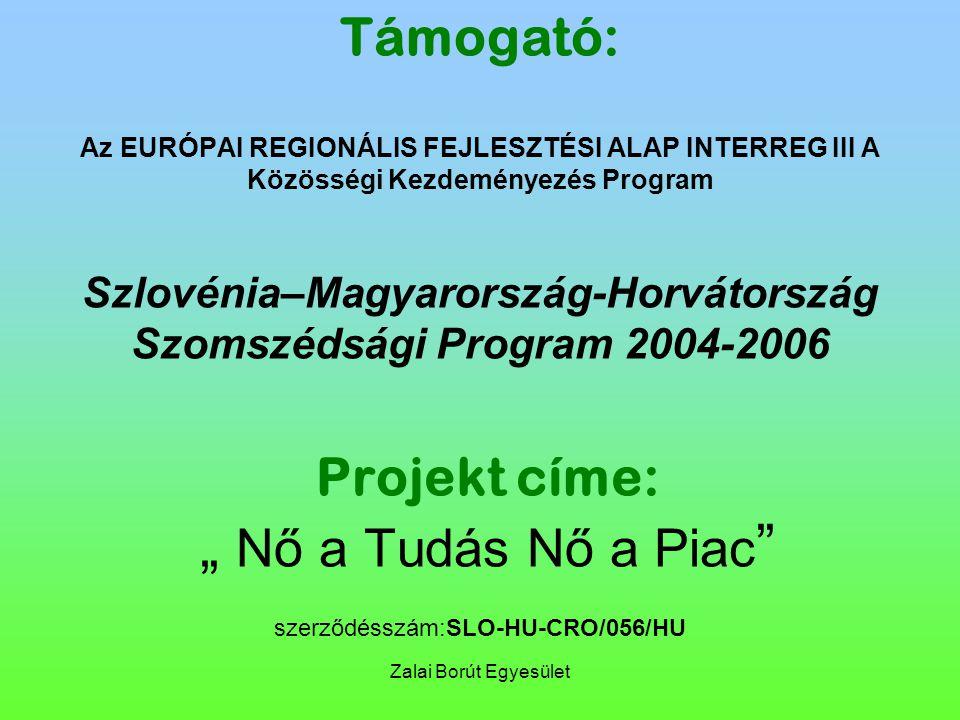 """Zalai Borút Egyesület Támogató: Az EURÓPAI REGIONÁLIS FEJLESZTÉSI ALAP INTERREG III A Közösségi Kezdeményezés Program Szlovénia–Magyarország-Horvátország Szomszédsági Program 2004-2006 Projekt címe: """" Nő a Tudás Nő a Piac szerződésszám:SLO-HU-CRO/056/HU"""