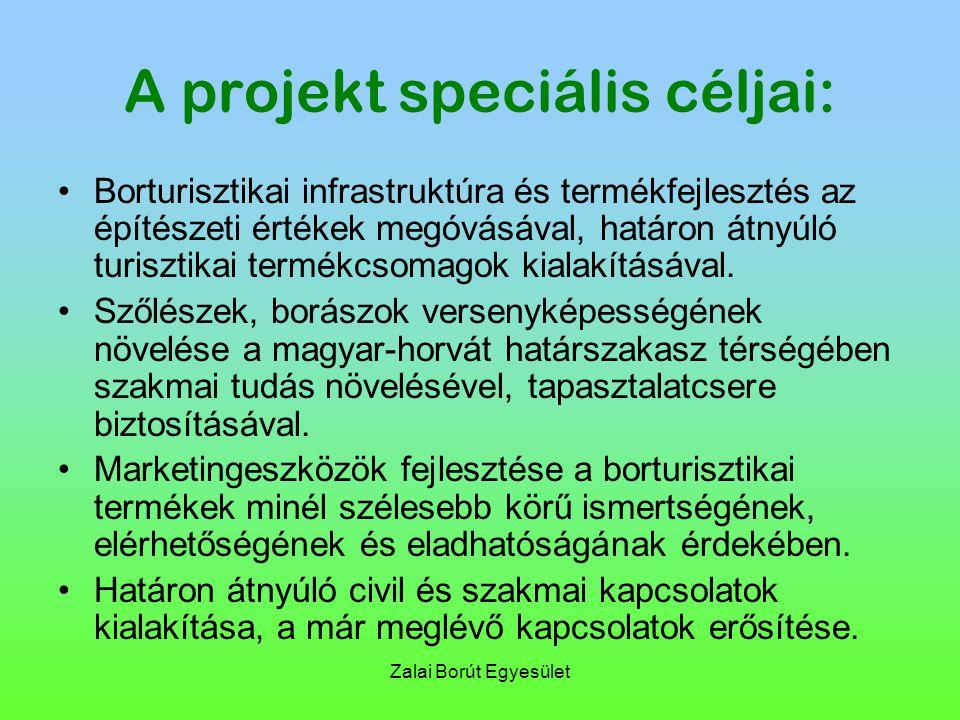 Zalai Borút Egyesület A projekt speciális céljai: Borturisztikai infrastruktúra és termékfejlesztés az építészeti értékek megóvásával, határon átnyúló turisztikai termékcsomagok kialakításával.