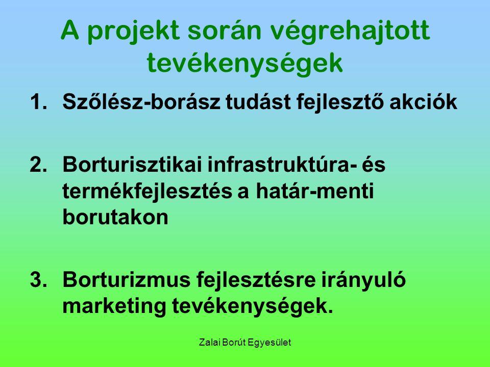 Zalai Borút Egyesület A projekt során végrehajtott tevékenységek 1.Szőlész-borász tudást fejlesztő akciók 2.Borturisztikai infrastruktúra- és termékfejlesztés a határ-menti borutakon 3.Borturizmus fejlesztésre irányuló marketing tevékenységek.