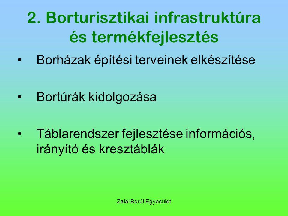 Zalai Borút Egyesület 2. Borturisztikai infrastruktúra és termékfejlesztés Borházak építési terveinek elkészítése Bortúrák kidolgozása Táblarendszer f