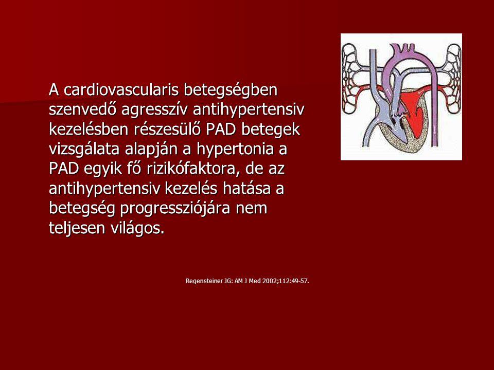 A cardiovascularis betegségben szenvedő agresszív antihypertensiv kezelésben részesülő PAD betegek vizsgálata alapján a hypertonia a PAD egyik fő rizi