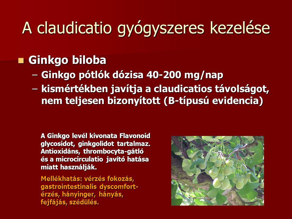Ginkgo biloba Ginkgo biloba –Ginkgo pótlók dózisa 40-200 mg/nap –kismértékben javítja a claudicatios távolságot, nem teljesen bizonyított (B-típusú ev