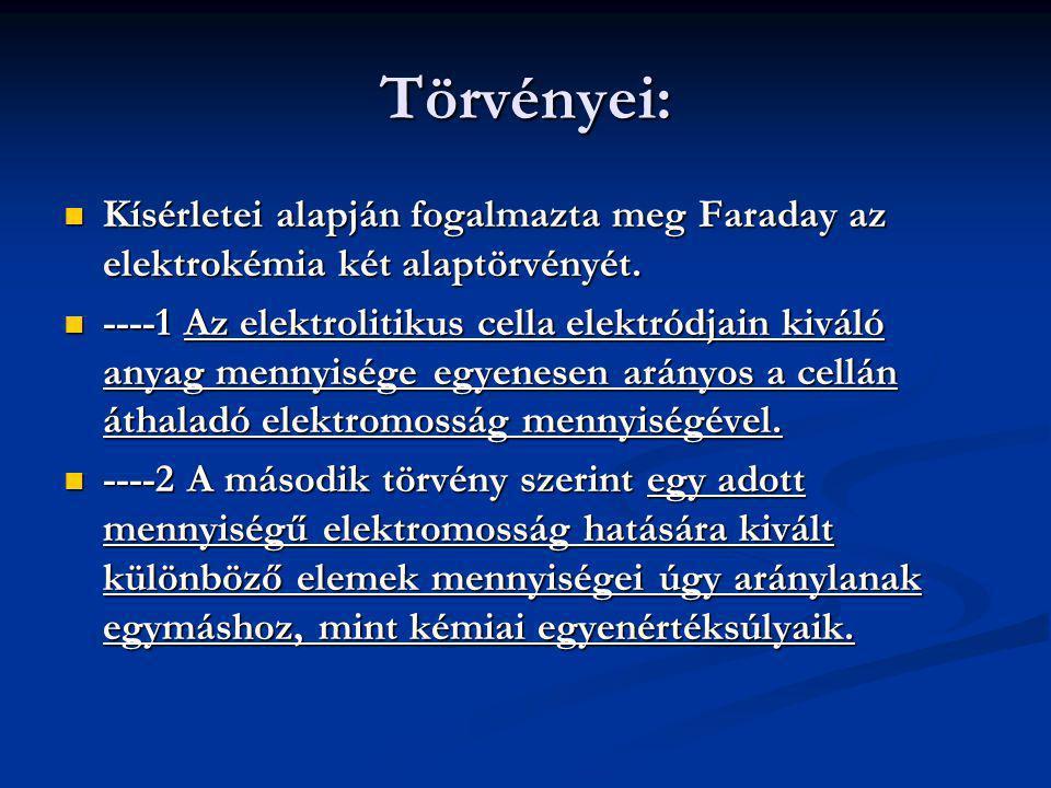 Törvényei: Kísérletei alapján fogalmazta meg Faraday az elektrokémia két alaptörvényét. Kísérletei alapján fogalmazta meg Faraday az elektrokémia két