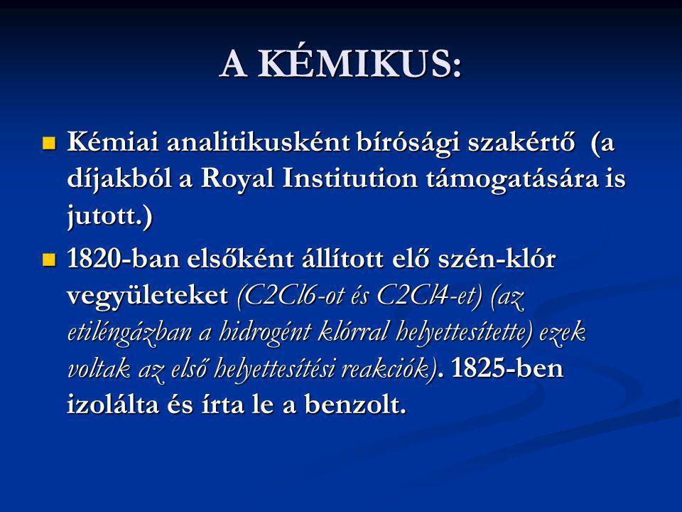 A KÉMIKUS: Kémiai analitikusként bírósági szakértő (a díjakból a Royal Institution támogatására is jutott.) Kémiai analitikusként bírósági szakértő (a