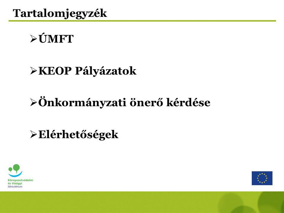 Tartalomjegyzék  ÚMFT  KEOP Pályázatok  Önkormányzati önerő kérdése  Elérhetőségek