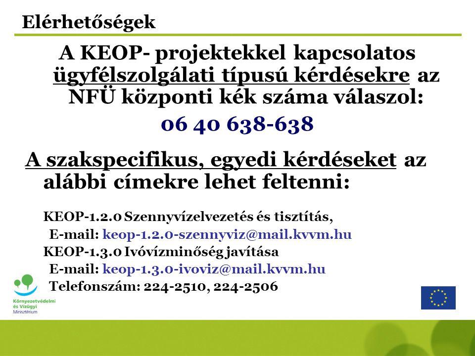 Elérhetőségek A KEOP- projektekkel kapcsolatos ügyfélszolgálati típusú kérdésekre az NFÜ központi kék száma válaszol: 06 40 638-638 A szakspecifikus, egyedi kérdéseket az alábbi címekre lehet feltenni: KEOP-1.2.0 Szennyvízelvezetés és tisztítás, E-mail: keop-1.2.0-szennyviz@mail.kvvm.hu KEOP-1.3.0 Ivóvízminőség javítása E-mail: keop-1.3.0-ivoviz@mail.kvvm.hu Telefonszám: 224-2510, 224-2506