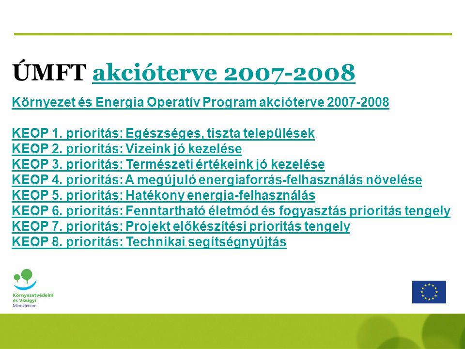 ÚMFT akcióterve 2007-2008akcióterve 2007-2008 Környezet és Energia Operatív Program akcióterve 2007-2008 KEOP 1.