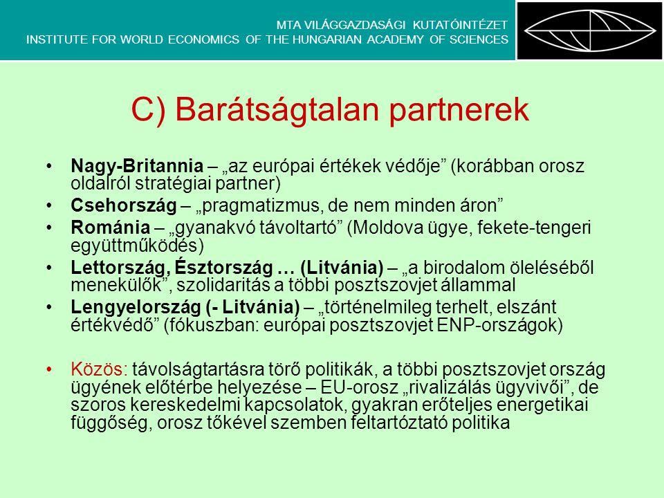 """MTA VILÁGGAZDASÁGI KUTATÓINTÉZET INSTITUTE FOR WORLD ECONOMICS OF THE HUNGARIAN ACADEMY OF SCIENCES C) Barátságtalan partnerek Nagy-Britannia – """"az eu"""
