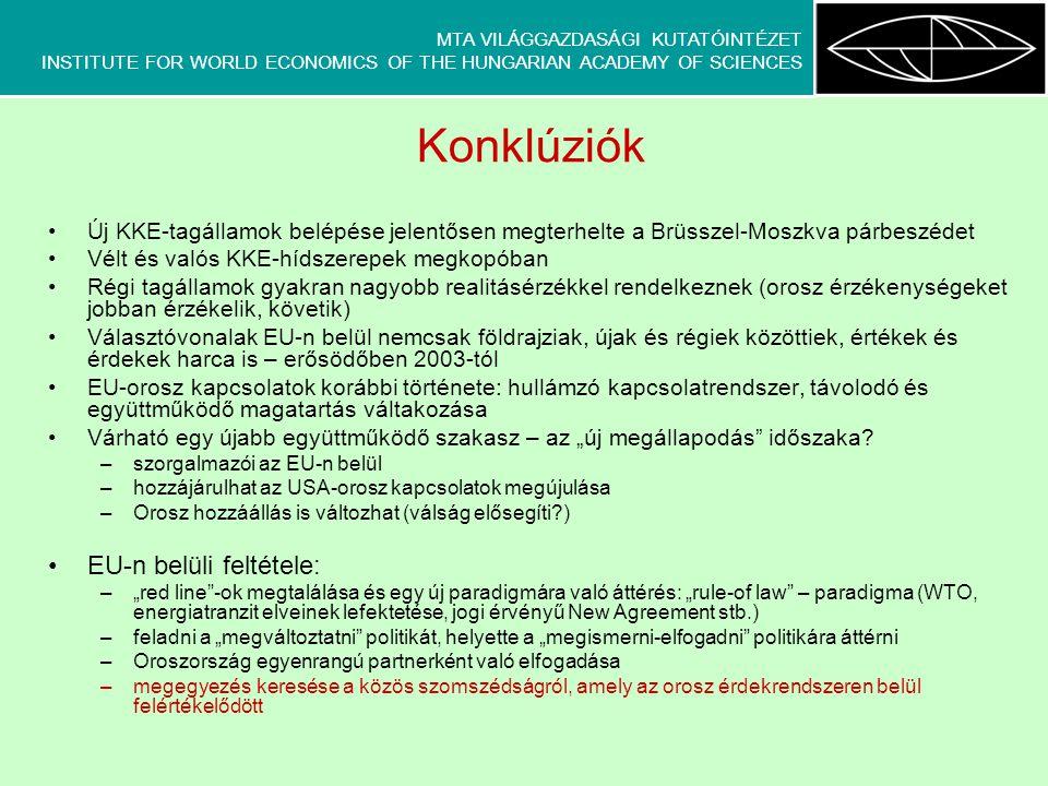 MTA VILÁGGAZDASÁGI KUTATÓINTÉZET INSTITUTE FOR WORLD ECONOMICS OF THE HUNGARIAN ACADEMY OF SCIENCES Konklúziók Új KKE-tagállamok belépése jelentősen m