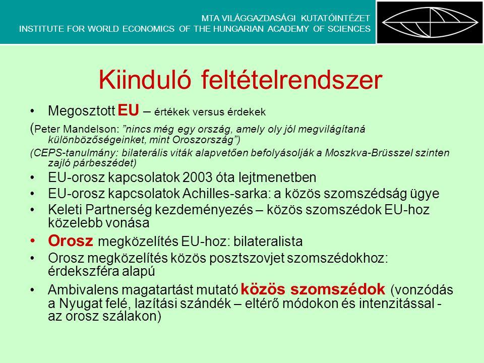 MTA VILÁGGAZDASÁGI KUTATÓINTÉZET INSTITUTE FOR WORLD ECONOMICS OF THE HUNGARIAN ACADEMY OF SCIENCES Kiinduló feltételrendszer Megosztott EU – értékek