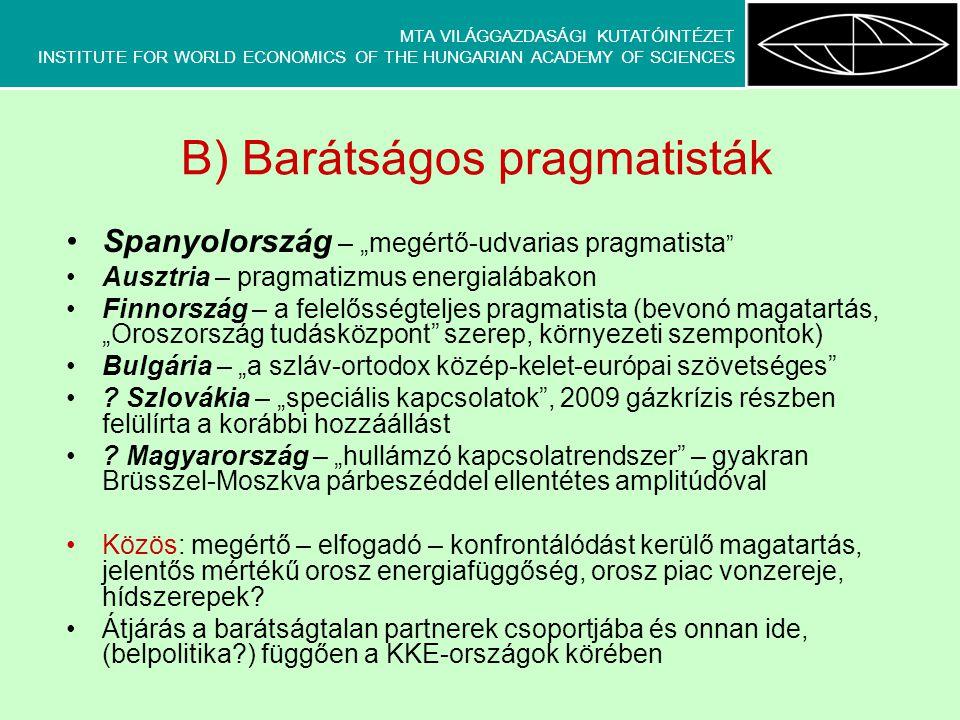 """MTA VILÁGGAZDASÁGI KUTATÓINTÉZET INSTITUTE FOR WORLD ECONOMICS OF THE HUNGARIAN ACADEMY OF SCIENCES C) Barátságtalan partnerek Nagy-Britannia – """"az európai értékek védője (korábban orosz oldalról stratégiai partner) Csehország – """"pragmatizmus, de nem minden áron Románia – """"gyanakvó távoltartó (Moldova ügye, fekete-tengeri együttműködés) Lettország, Észtország … (Litvánia) – """"a birodalom öleléséből menekülők , szolidaritás a többi posztszovjet állammal Lengyelország (- Litvánia) – """"történelmileg terhelt, elszánt értékvédő (fókuszban: európai posztszovjet ENP-országok) Közös: távolságtartásra törő politikák, a többi posztszovjet ország ügyének előtérbe helyezése – EU-orosz """"rivalizálás ügyvivői , de szoros kereskedelmi kapcsolatok, gyakran erőteljes energetikai függőség, orosz tőkével szemben feltartóztató politika"""
