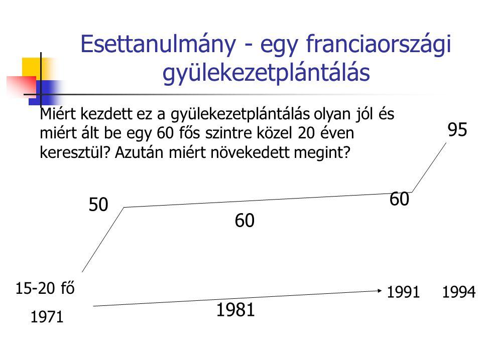 Esettanulmány - egy franciaországi gyülekezetplántálás 15-20 fő 1971 50 60 1981 1991 1994 60 95 Miért kezdett ez a gyülekezetplántálás olyan jól és mi