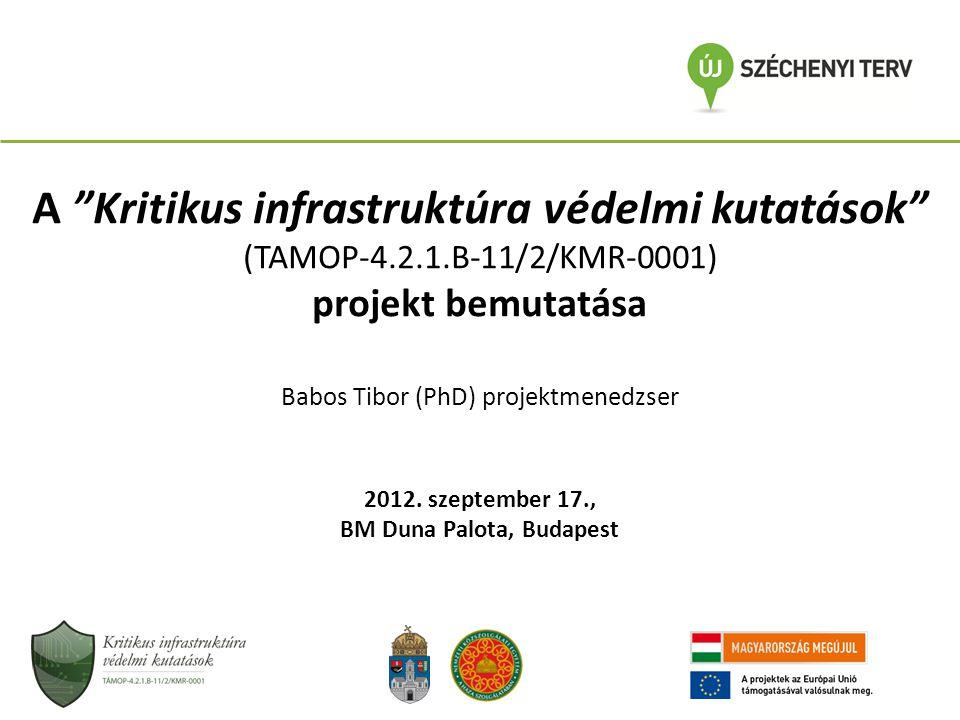 """A """"Kritikus infrastruktúra védelmi kutatások"""" (TAMOP-4.2.1.B-11/2/KMR-0001) projekt bemutatása Babos Tibor (PhD) projektmenedzser 2012. szeptember 17."""