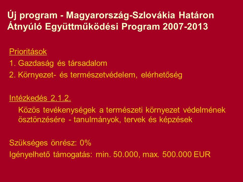 Új program - Magyarország-Szlovákia Határon Átnyúló Együttműködési Program 2007-2013 Prioritások 1.