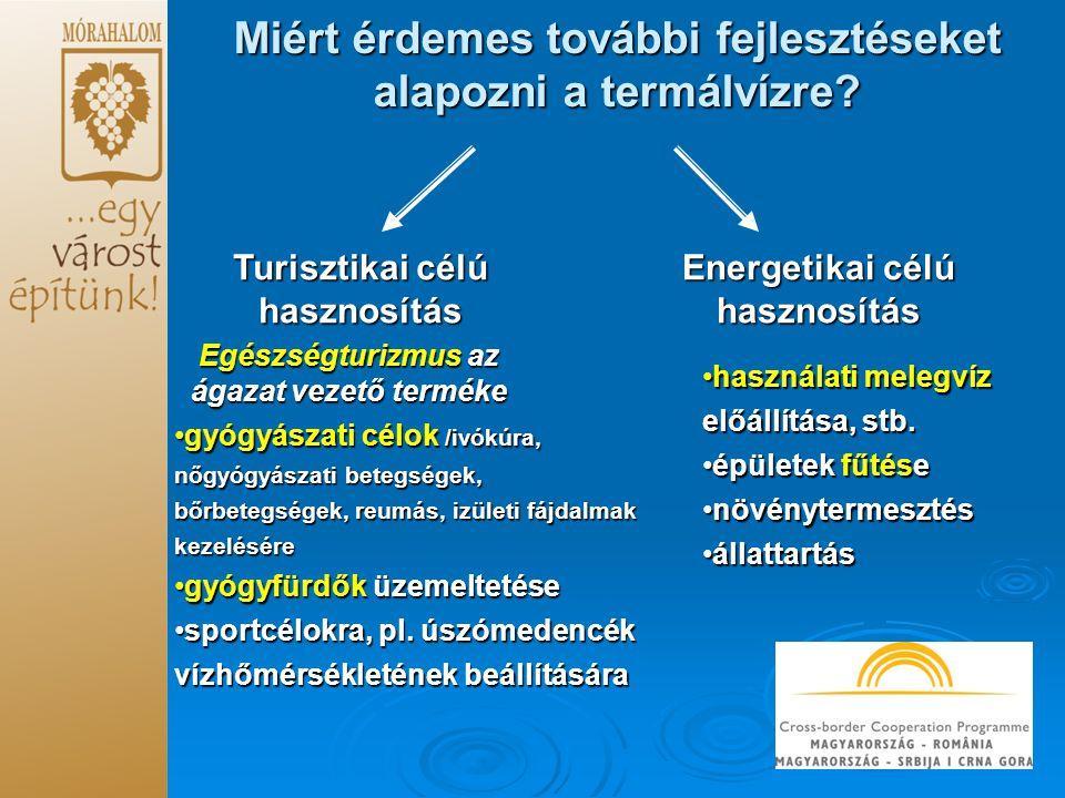 Miért érdemes további fejlesztéseket alapozni a termálvízre? Turisztikai célú hasznosítás Energetikai célú hasznosítás gyógyászati célok /ivókúra, nőg