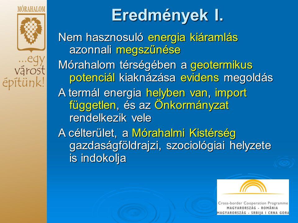 Eredmények I. Nem hasznosuló energia kiáramlás azonnali megszűnése Mórahalom térségében a geotermikus potenciál kiaknázása evidens megoldás A termál e
